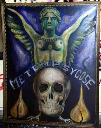 Fresque,peinture murale,graffiti,art singulier,art insolite, salle de garde,pailardise,metempsychose,érotisme,carabin,peinture