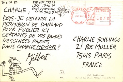 Gilbert Shelton, Charlie Schlingo, carte postale, illustration, BD