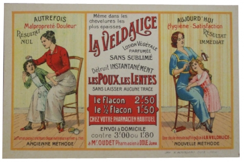 publicité,réclame,poux,morpions,marie-rose,veldalice,brocante,collection