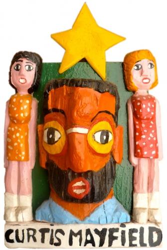yann paris,sculpture,art singulier,art brut,art modeste,curtis mayfield