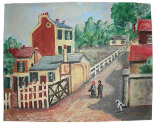 peinture naive, art populaire, scène de faubourg