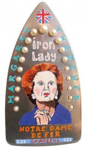 Margaret Thatcher,maggie Thatcher,mort,décés,mort d'homme,peinture,art singulier,laurent jacquy,french outsider,peinture sur fer à repasser