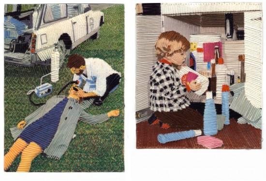 Cécile Jarsaillon,broderie sur photo, fils et aiguilles,art singulier,art modeste