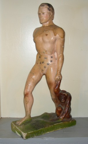 tarzan au singe , sculpture, plâtre