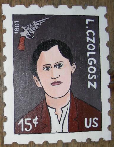 Laurent Jacquy, leon czolgosz, anarchiste,peinture sur bois, Timbre
