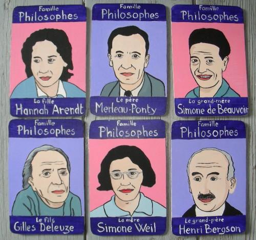 Peinture sur bois,Laurent Jacquy,portraits,jeu de 7 familles,100 familles,illustration,portraits de célébrité,Acrylique sur bois,humour,art singulier,art insolite,art naÏf,french outsider,Philosophes,Hannah Arendt,Merleau-Ponty,Simone de Beauvoir,Gilles Deleuze,Simone Weil,Henri Bergson