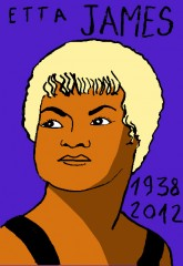 Etta James, dessin,Laurent Jacquy,french outsider,portrait d'etta james,Répertoire des macchabées célèbres,la place du mort