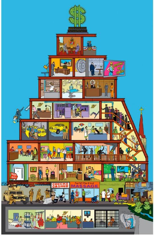 Pyramide du capitalisme,illustration,résitance,réinventer la démocratie