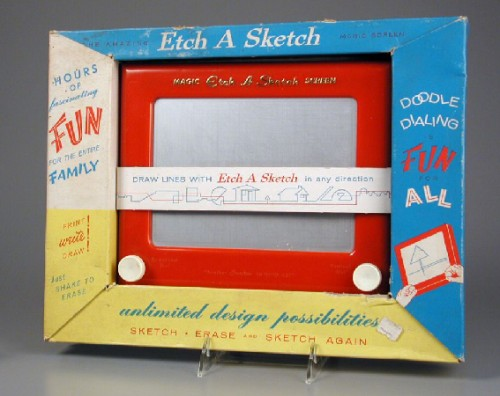 André Cassagnes,Télécran,écran magique,Etch A Sketch,jeu,jouet,collection,brocante