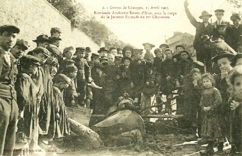 Grèves de Limoges 1905, barricade rue de la Raynie