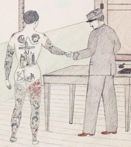 Art populaire,art insolite,art naif,art brut,dessin de bagnard,dessin de prisonnier,tatouages