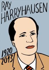 Ray Harryhausen,portrait,dessin,laurent jacquy,cinéma effets spéciaux