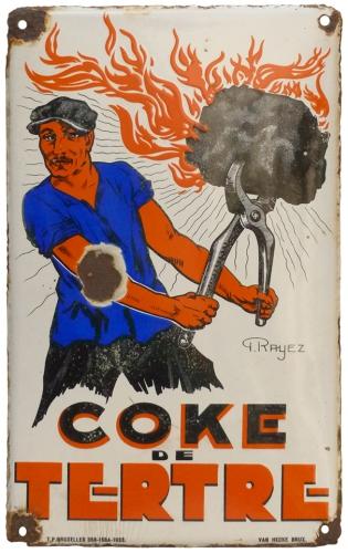 plaque émaillée,réclame,publicté,brocante,collection,charbon,coke,houille