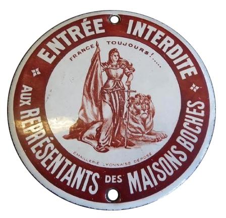 plaque émaillée,grande guerre,1914/1918,collection,brocante