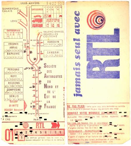 Ticket d'autoroute, année 1970