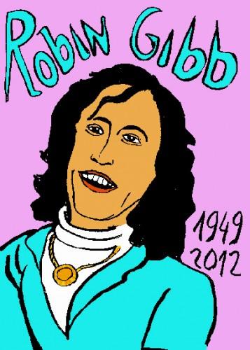 Robin gibb,répertoire des macchabées célèbres,dessin Laurent Jacquy,french outsider,mort célèbre