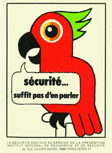 tésors de l'INRS,graphisme,illustration,affiche sécurité,Bernard Chadebec,les requins marteaux,travailler tue