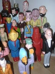 Yann Paris, sculpture en bois, personnages de Tintin