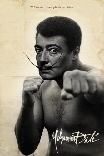 Mohamed ali,salvador dali,photomontage,humour