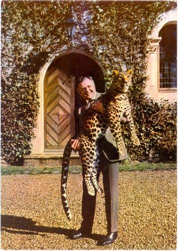 Jean Richard,carte postale,léopard