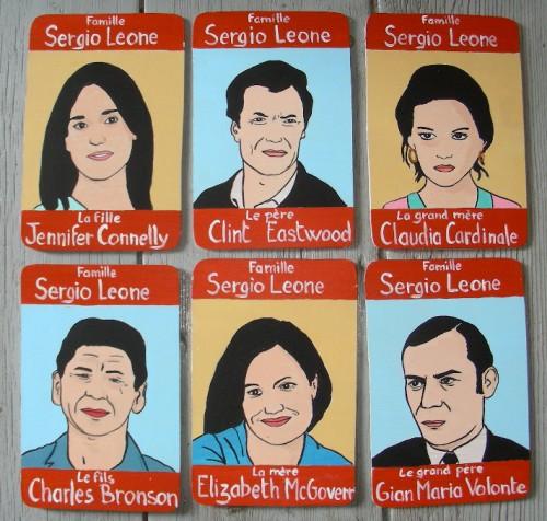 Peinture sur bois,Laurent Jacquy,portraits,100 familles,jeu de 7 familles,illustration,portraits de célébrité,Acrylique sur bois,humour,art singulier,art insolite,art naÏf,french outsider