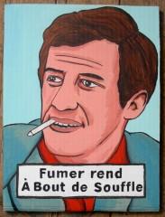 Jean-Paul Belmondo,série fumeursnfumeurs célèbres?Acrylique sur carton,Laurent Jacquy,Peinture,art singulier,art insolite,french outsider,Les Beaux Dimanches