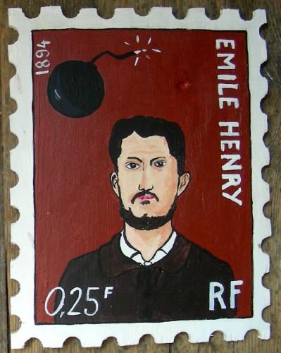 Laurent Jacquy, Emile Henry, anarchiste, peinture sur bois, Timbre