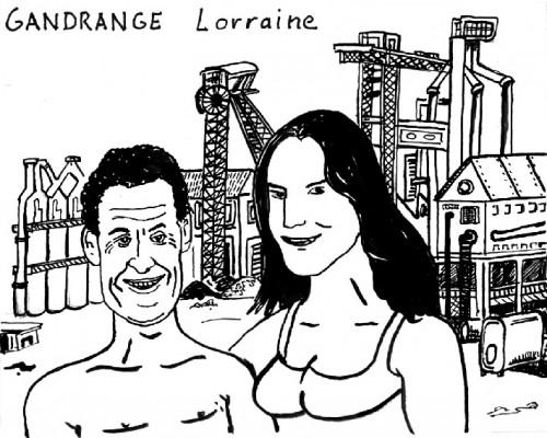 Dessin,Laurent Jacquy,caricature,Les vacances secrètes des gens connus,Sarkozy et Carla,Gandrange
